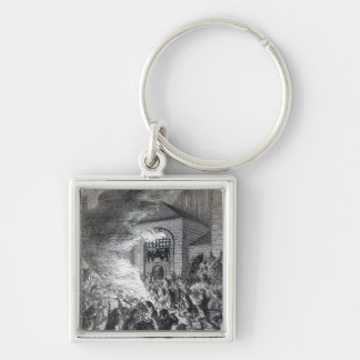 The 'No Popery' rioters burning the prison Silver-Colored Square Keychain