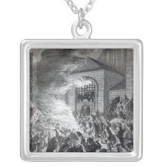 The 'No Popery' rioters burning the prison Silver Plated Necklace