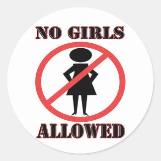 The no symbol pictogram No Girls Allowed Classic Round Sticker