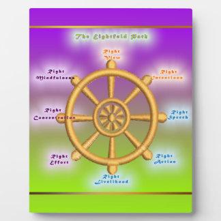 The Noble Eightfold Path Dharma Wheel Display Plaque