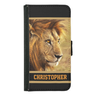 The Noble Lion Photograph Wallet Phone Case For Samsung Galaxy S5