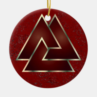 The Norse Valknut Symbol - 2 Double-Sided Ceramic Round Christmas Ornament