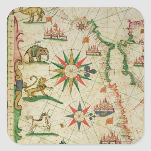 The North African Coast, from a nautical atlas Square Stickers