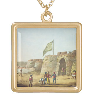 The North Entrance into the Fort of Bangalore, pla Gold Plated Necklace