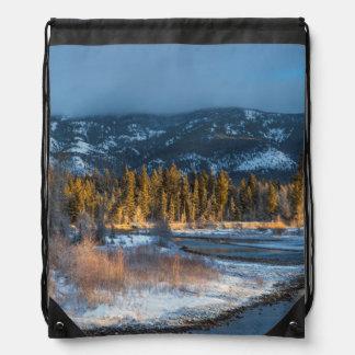 The North Fork Of The Blackfoot River At Sunrise Drawstring Bag