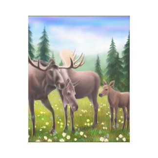 The Northern Moose Family Wrapped Canvas