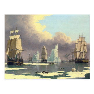 The Northern Whale Fishery - Oil Painting Postcard