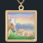 """The Norwegian Fjord Horse Necklace<br><div class=""""desc"""">Original fine art design of Norwegian Fjord horses by designer Carolyn McFann of Two Purring Cats Studio on a quality pendant for horse lovers.     See a few of our products below (click to go to that product) and visit our very artistic stores at:</div>"""