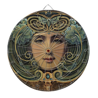The Nouveau Looking Glass Dartboard With Darts