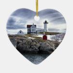 "The ""Nubble"" Cape Neddick lighthouse York, Maine Double-Sided Heart Ceramic Christmas Ornament"