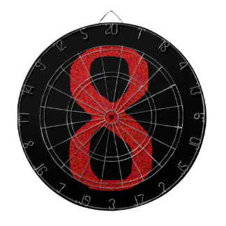 THE NUMBER 8 IN RED DARTBOARD