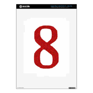THE NUMBER 8 IN RED DECALS FOR iPad 3