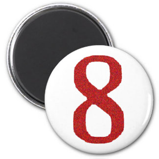 THE NUMBER 8 IN RED MAGNET