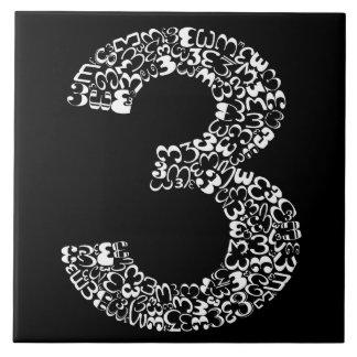 The Number Three Ceramic Tile