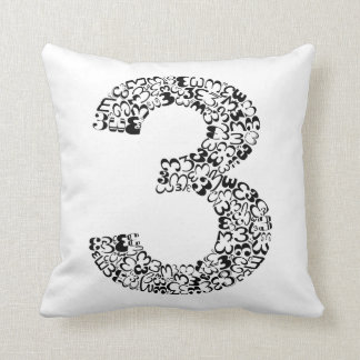 The Number Three Throw Pillow