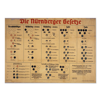 The Nuremberg Laws Chart 5x7 Paper Invitation Card
