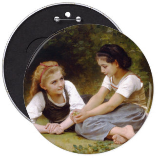The Nut Gatherers by W.A. Bouguereau Pinback Button