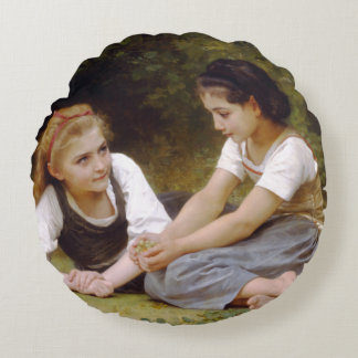 The Nut Gatherers by W.A. Bouguereau Round Pillow