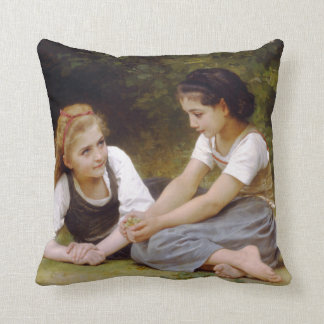The Nut Gatherers by W.A. Bouguereau Throw Pillow
