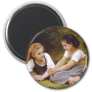 The Nut Gatherers by William Adolphe Bouguereau 2 Inch Round Magnet