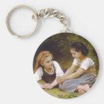 The Nut Gatherers by William Adolphe Bouguereau Basic Round Button Keychain