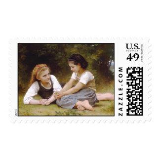 The Nut Gatherers, William-Adolphe Bouguereau Postage Stamp
