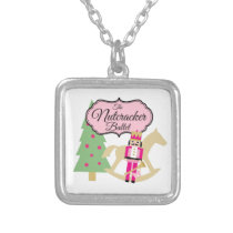 The Nutcracker Ballet Dance Student square Silver Plated Necklace