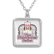 The Nutcracker Ballet Diamonds square Silver Plated Necklace