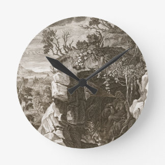 The Nymph Echo Changed into Sound 1731 engraving Round Wall Clocks