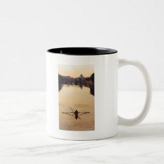 """The Oarsman"" Kayaker Boat Watercolor Two-Tone Coffee Mug"