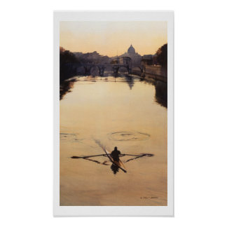 """The Oarsman"" Kayaker Boat Watercolor Poster"
