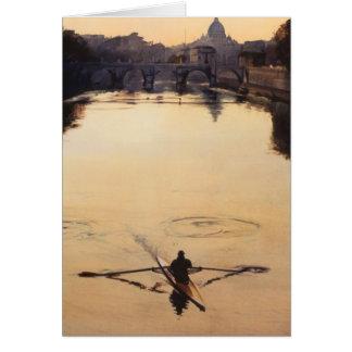 """The Oarsman"" Tiber River Watercolor Greeting Card"