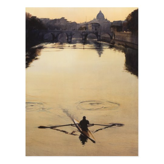 """The Oarsman"" Tiber River Watercolor Postcard"