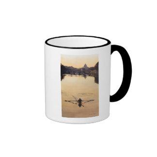 """""""The Oarsman"""" Tiber River Watercolor Ringer Mug"""