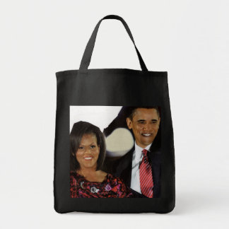 THE OBAMAS large tote Grocery Tote Bag