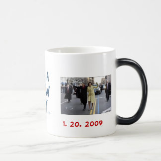 the obamas, new day, 1. 20. 2009 11 oz magic heat Color-Changing coffee mug