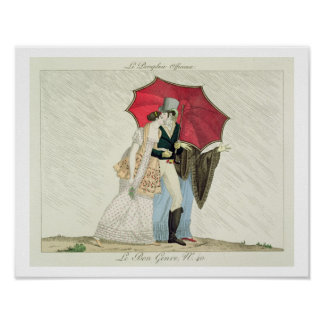 The Obliging Umbrella, plate 40 from 'Le Bon Genre Poster