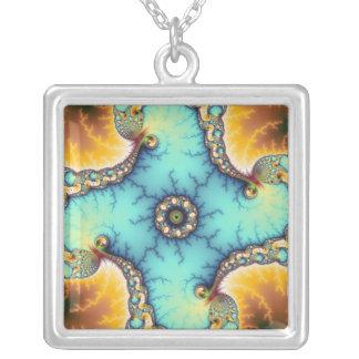 The Observer - Fractal Square Pendant Necklace