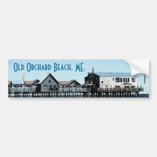 The Ocean and Pier At Old Orchard Beach Maine Car Bumper Sticker