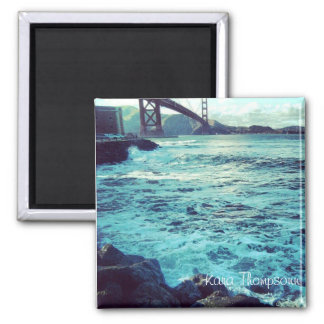 The Ocean and The Bridge 2 Inch Square Magnet