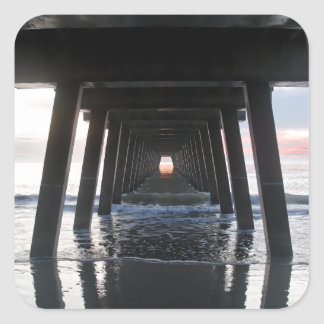 The Ocean and the Pier.jpg Square Sticker