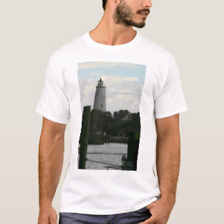 The Ocracoke Lighthouse at the end of the harbor. T-Shirt