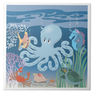 The Octopus large ceramic tile
