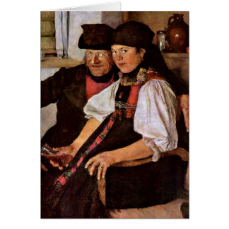 The Odd Couple By Wilhelm Leibl Greeting Card