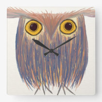 The Odd Owl Square Wall Clock