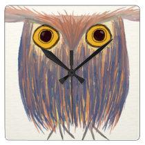 The Odd Owl Square Wall Clock
