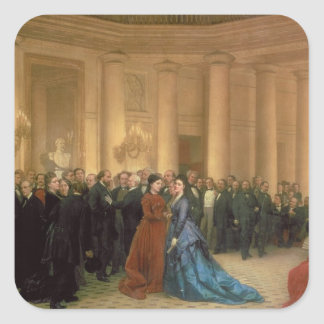The Odeon Theatre, Paris, 1869 (oil on canvas) Square Sticker