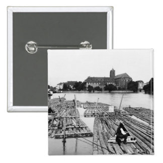 The Oder at Breslau  Poland, c.1910 2 Inch Square Button