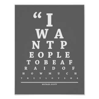 The Office Eye Exam Chart Poster