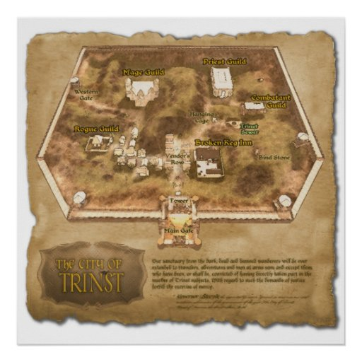 The Official Map of the City of Trinst Posters
